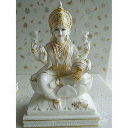 Beautiful Gold Plated Marble Laxmi Statue