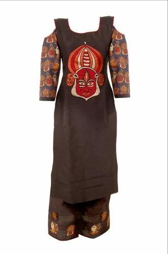 Adorvii Women Raw Silk Black Kurti with Palazzo, Size: 42-44