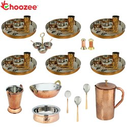 Choozee - Set of 6, Stainless Steel Copper Thali Set with Serveware and Copper Hammered Jug (52 Pcs)