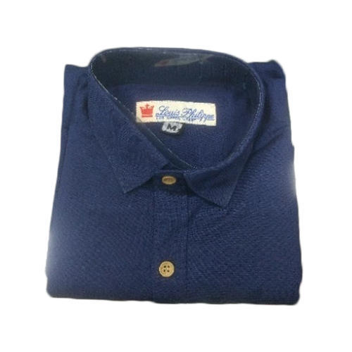 33a6f1f0e6 Attirre And Cotton Mens Navy Blue Plain Shirt, Size: M And L, Rs 350 ...