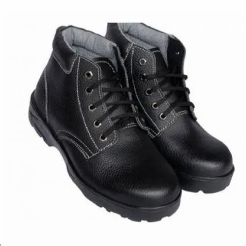 Black High Ankle Length Shoes, for