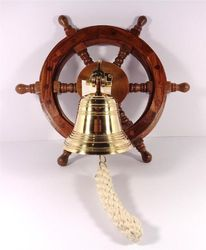 Nautical Ships Wheel with Solid Brass Ships Bell