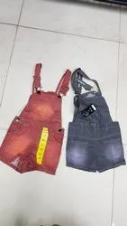 Grey N Orange Denim Kids Dungaree, Size: Medium