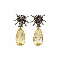 Lemon Topaz Earrings Antique Look Earrings