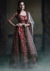 Chilly Red Designer Bridal Lehenga Choli