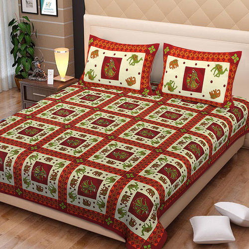 2cb98f88dfd MultiAll Block Printed Rajasthani Jaipuri Art Printed Cotton Double  Bedsheets