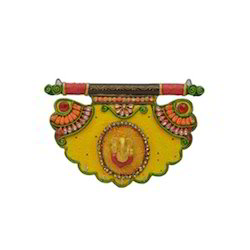 Wooden Paper Mache Pankhi Shape Ganesha Key Holder