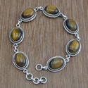 Tiger Eye Gemstone 925 Silver Fashion Jewelry Bracelet