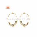 New Gold Plated Designer Labradorite Rainbow Moonstone Hoop Earrings
