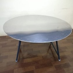Polished Steel Round Table, For Restaurant