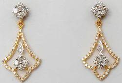 two tone gold subtle trendsetting prong set diamond clustter  earrings