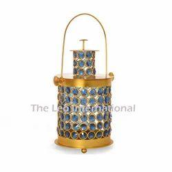 Blue Color Crystal Bead Metal Lantern Golden Finish