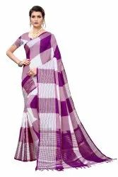 Cotton Silk Party Wear Wine Saree With Blouse Piece