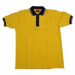 Yellow And Black Cotton School Uniform T Shirt
