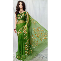 52890587f Dark Green Printed Party Wear Resom Saree