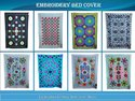 Indian Floral Design Embroidered Cotton Bedsheet