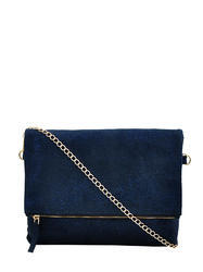 Blue Faux Suede Sling Bag