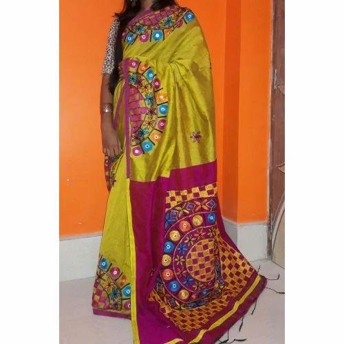 c5670154c8370 Tant Cotton Printed And Body Designed Ari Work Cotton Silk Saree ...