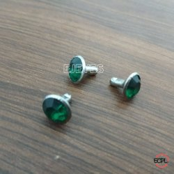 9mm Steel & Stone Stone Rivets Green