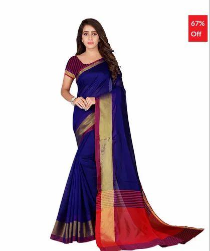 8431844e096419 Bhelpuri Navy Blue Cotton Casual Wear Woven Saree with Blouse Piece ...