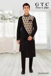 Cotton Synthetic Mix Black Kurta Pyjama with Jacket, Mandarin Collar