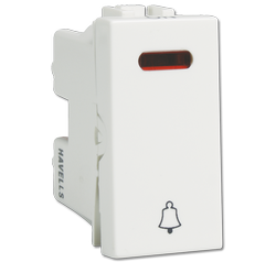 Havells White 6 AX Bell Push with Ind Switch