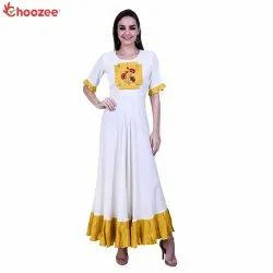 Inspire Women Long Gown with Embroider Patch