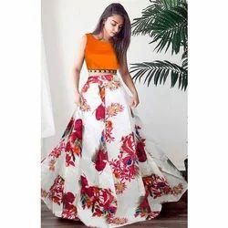 Ladies Floral Print Semi-Stitched Lehenga Choli