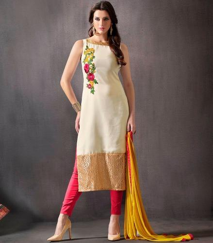 98575000b1 Party Wear Sweetlook White Cotton Embroidered Straight Suit, Rs 500 ...