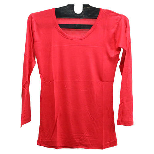 Round Neck Red Top, Size: S to XXL
