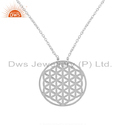 White Rhodium Plated Plain Silver Filigree Design Pendant