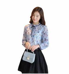 Floral Long-sleeve Print Collar Tide Top