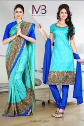 Sea Blue and Blue Italian Crepe Uniform Saree Kurti Combo