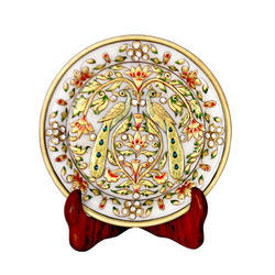 Peacock Design Marble Plate