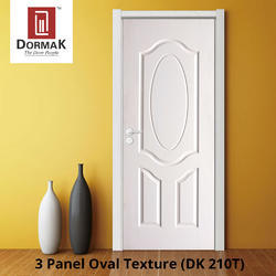 DK-210T 3 Panel Oval Texture Moulded Wooden Door