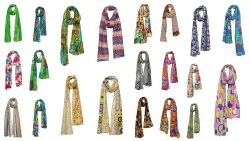 Women Linen Beautiful Rural Style Flower Long Scarf