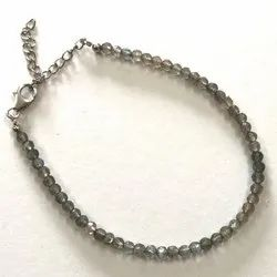 Natural Labradorite Faceted Beads Silver Bracelet with Silver Hook