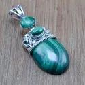 925 Sterling Silver Designer Jewelry Malachite Gemstone Fine Pendant Wp-6072