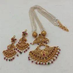 Karishma Kreations Pearl Temple Jewellery Set-Pearl03