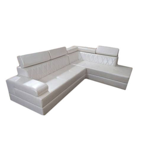 White Leather and Solid Wood L Shape Sofa