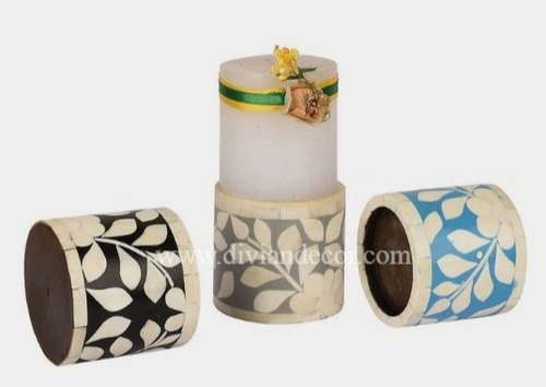 Table Top Dainty Bone Inlay Candle Holders/Candle Stand, For Home, Size: 6 *3 Inches,8 *3 Inches