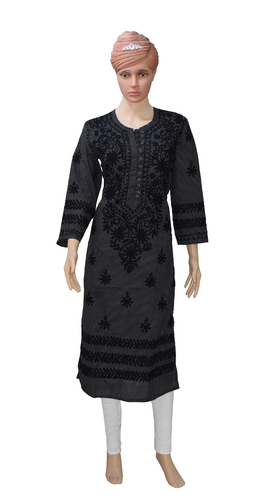 c058047ebe Lucknowi Chiken Dot-printed Black Kurti With Hand Embroidery, Chikan ...