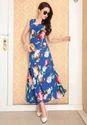 Chiffon Round Neck Fashion Milk Silk Maxi Dress