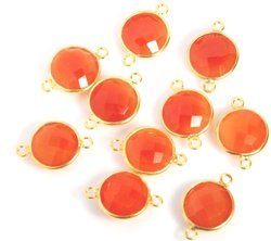 Carnelian Gemstone 925 Sterling Silver Bezel Connectors
