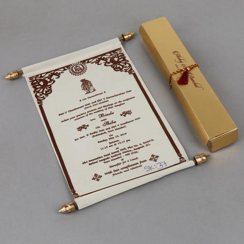 scroll wedding invitation card in cream velvet shape portrait rs