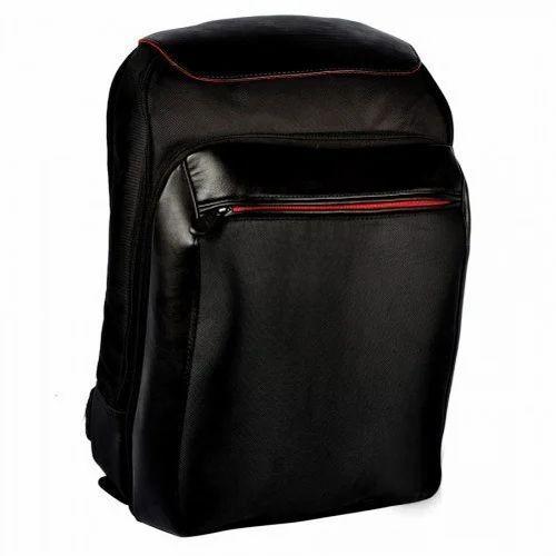 b7ff4a9acf27 Black Plain Leather Laptop Backpack Bag