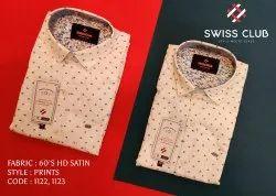 Male Full Swiss Club Men's Casual Satin Printed Shirt
