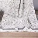 Jaipuri White & Grey Block Printed 100% Cotton Throws