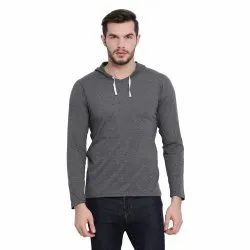 Casual Wear Vimal Jonney Dark Grey Full Sleeve Hoodie T Shirt For Men