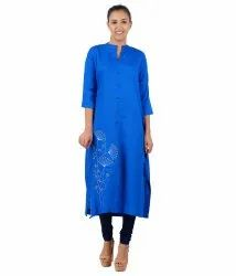 Blue Floral Embroidery Kurti